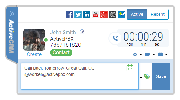 ActiveCRM, Salesforce, Intelligence Screenshot 2 Notes Logs Call Activity